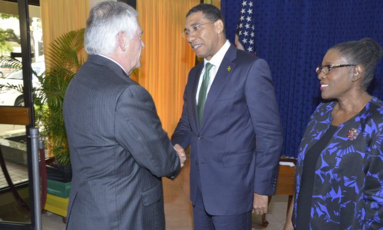 U.S. Secretary of State Rex Tillerson is greeted by Jamaican Prime Minister Andrew Holness before their meeting in Kingston, Jamaica, on February 7, 2018. [State Department photo/ Public Domain]