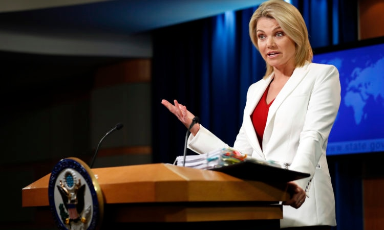 State Department spokeswoman Heather Nauert speaks during a briefing at the State Department in Washington, D.C. (AP Photo/Alex Brandon)
