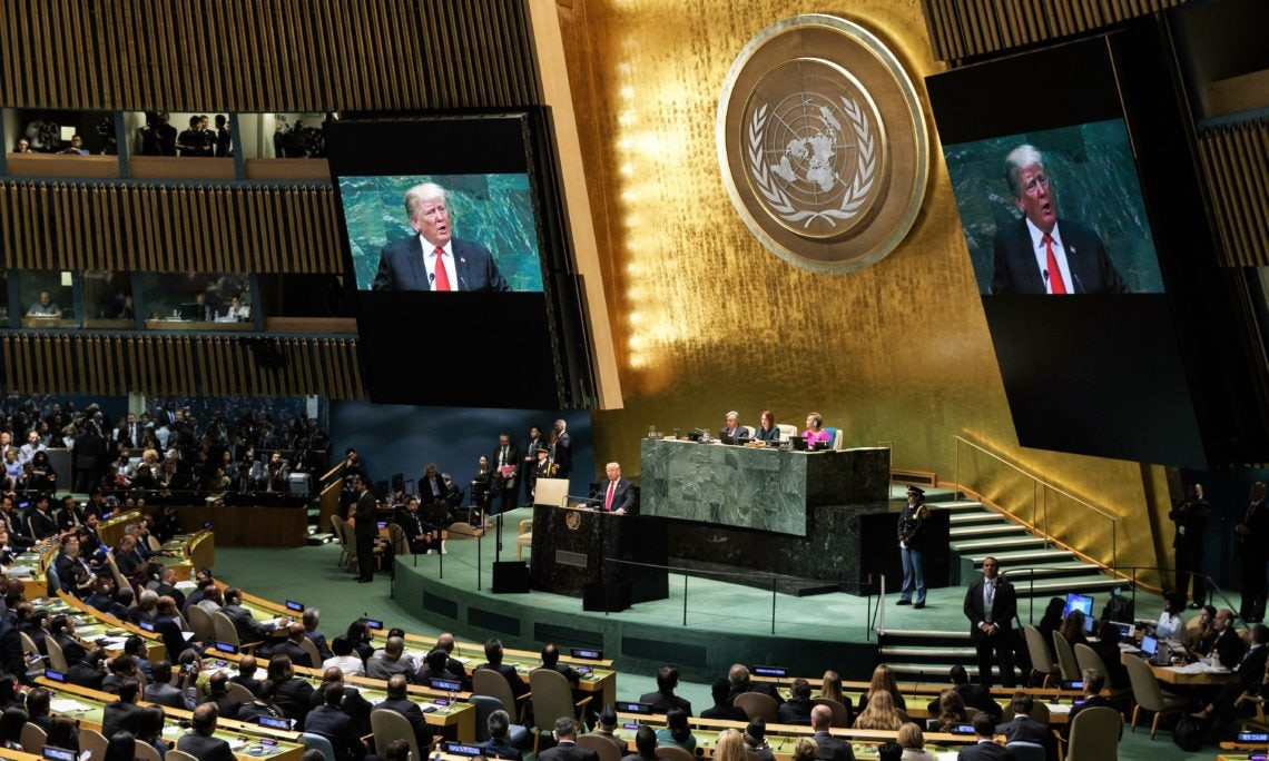President Donald Trump addresses the United Nations General Assembly, Tuesday, Sept. 25, 2018, at U.N. Headquarters. (AP Photo/Evan Vucci)