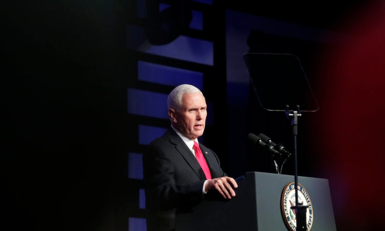 Vice President Mike Pence speaks at Iglesia Doral Jesus Worship Center on the political crisis in Venezuela on Friday, Feb. 1, 2019, in Doral, Fla. (AP Photo/Brynn Anderson)