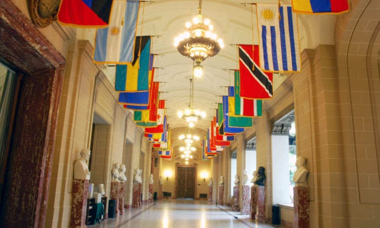 The Hall of Heroes at the headquarters of the Organization of American States (OAS) honors patriots from the countries throughout the region. (OAS Photo)