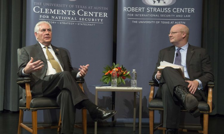 U.S. Secretary of State Rex Tillerson participates in a Q and A after delivering a speech on U.S. policy priorities in the Western Hemisphere at the University of Texas in Austin, Texas on February 1, 2018. [Photo Courtesy: The University of Texas Austin]