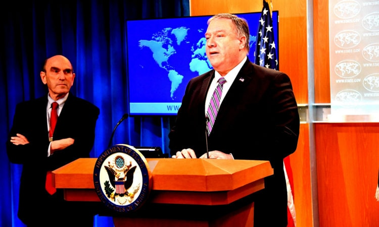 Secretary Pompeo Gives Remarks on Venezuela Secretary of State Michael R. Pompeo, with Elliott Abrams, delivers remarks to the media on Venezuela, at the Department of State, January 25, 2019. [State Department Photo / Public Domain]